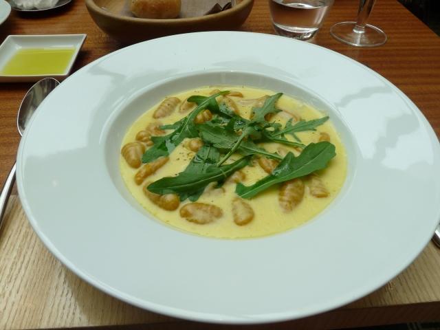 Amazing pumpkin gnocci with gorgonzola cream sauce.