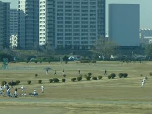 Soccer fields line river banks